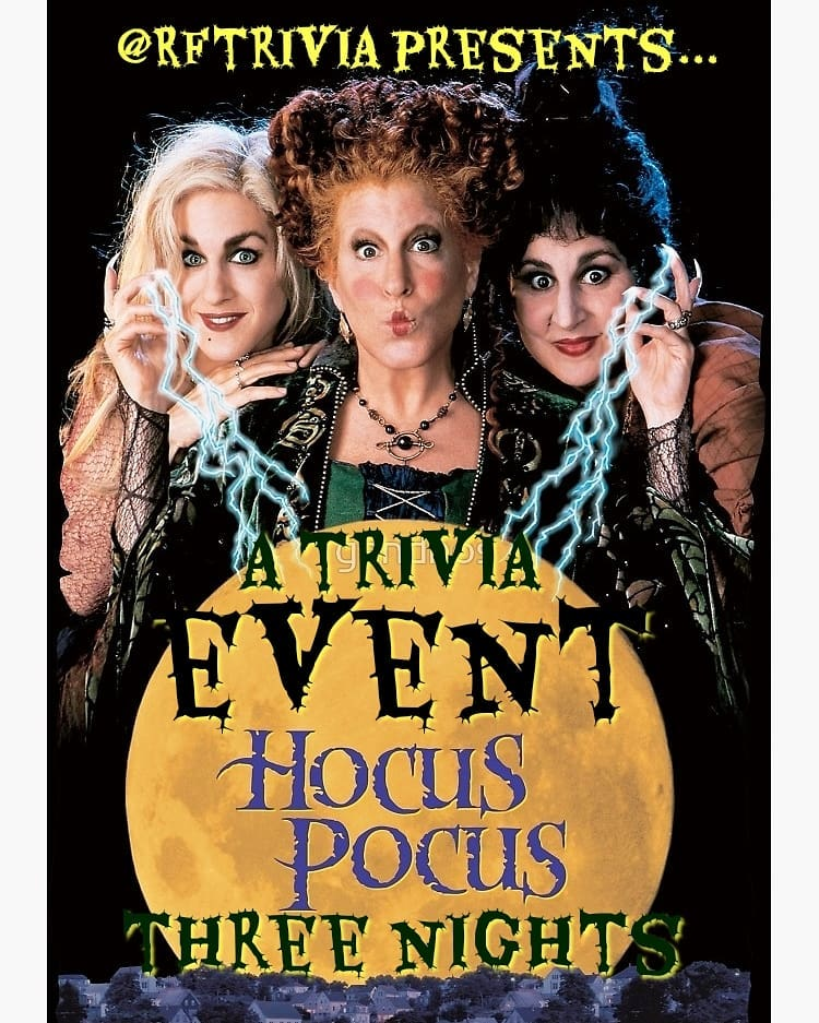 This week we kick off three sessions of HOCUS POCUS trivia! We're keen to celeb…